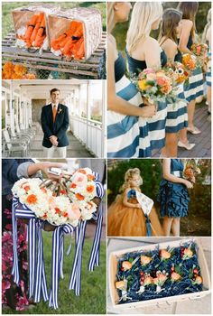 Our wedding colors!!  Blue, white and orange!!  (Bears and Broncos colors for those of you wondering...)