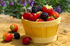 Mixed summer fruits - strawberries, cherries , blackberries...yummmm!