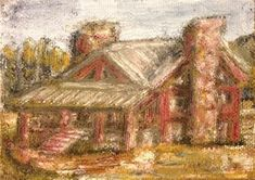 """Daily Paintworks - """"Rustic Get-Away"""" - Original Fine Art for Sale - © Mary Aikens Art Gallery, Daily Painting, Small Canvas, Original Fine Art, Painting, Oil Painting, Art, My Arts, Building Art"""