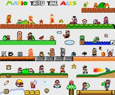 Epic mario through the ages cross stitch pattern