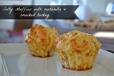 Craft Cook Love: Αλμυρά Μάφιν με Μοτσαρέλλα & Γαλοπούλα Φουαντρέ- Salty Muffins with Mozarella & Smocked Turkey