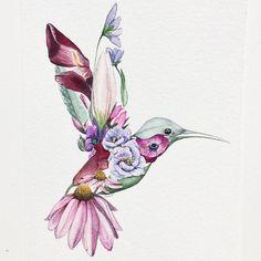 Finished This Flower Hummingbird - Flower Tattoo Designs - . - Finished this flower hummingbird # watercolor – Flower Tattoo Designs – - Trendy Tattoos, Cute Tattoos, Beautiful Tattoos, Body Art Tattoos, Small Tattoos, Sleeve Tattoos, Et Tattoo, Tattoo Drawings, Raven Tattoo