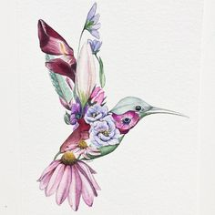 Finished This Flower Hummingbird - Flower Tattoo Designs - . - Finished this flower hummingbird # watercolor – Flower Tattoo Designs – - Tattoo Drawings, Body Art Tattoos, Sleeve Tattoos, Female Tattoos, Trendy Tattoos, Cool Tattoos, Tatuagem Diy, Watercolor Hummingbird, Hummingbird Drawing
