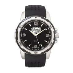 NCAA Florida Black Stealth Watch by Logo Art. $49.99. Men's water resistant sport watch with oversize casing. Striking raised polished chrome team emblem and hour marks contrast with glossy black dial. It features a mineral glass crystal with non-reflective coating, black dial ring with white printed seconds and minute track, 3 luminous hands. Japanese quartz movement and 2 year battery. The strap is soft and supple black silicon rubber with a stainless steel buckle. Packag...