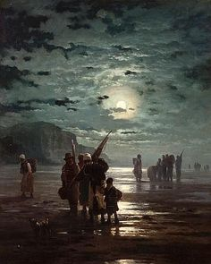 Edward Moran (British/American, Fisherfolk at dawn, 1878 31 x Fantasy Landscape, Landscape Art, Landscape Paintings, Fantasy Art, Nocturne, Moonlight Painting, Arte Cyberpunk, Dark Places, Paintings I Love
