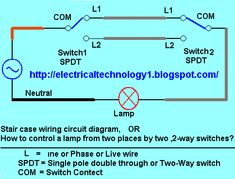 staircase wiring circuit diagram how to control a lamp from 2 rh pinterest com Wiring- Diagram Circuit Board