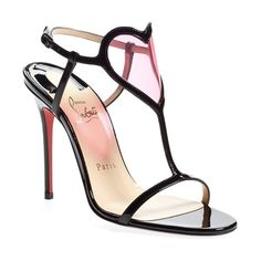 Women's Christian Louboutin 'Cora' Patent Leather Sandal ($815) ❤ liked on Polyvore featuring shoes, sandals, heels, christian louboutin, scarpe, red shoes, red patent sandals, red t strap sandals, red patent leather shoes and red heeled sandals