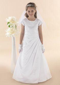 Full Length First Communion Dress Short Sleeve Beaded Satin Asymmetrical Waist - ESME - Linzi Jay Communion Dress For Girl - Girls Communion Dress