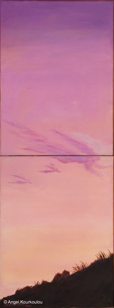 FAREWELL II, oil on canvas, 60x24cm, 2002 Oil On Canvas, Angel, Clouds, Celestial, Sunset, Outdoor, Outdoors, Sunsets, Outdoor Games
