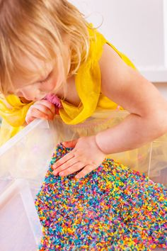 Rainbow Rice Sensory Bin Activity for Kids - Eating Richly