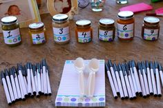 Baby Shower Guess the Baby Food Game, 15 Entertaining Baby Shower Games via Pretty My Party Fotos Baby Shower, Idee Baby Shower, Shower Bebe, Fun Baby Shower Games, Girl Shower, Baby Shower Parties, Baby Shower Themes, Shower Ideas, Baby Shower Games