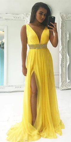 Sexy Slit Yellow Prom Dress,Deep V-neckline Evening Dress,Slit