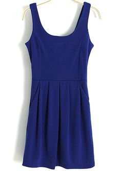 Royal Blue Scoop Neck Sleeveless Pleated Dress 16.00
