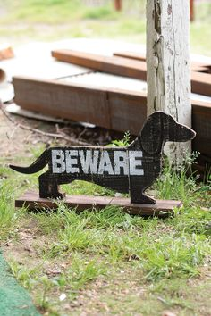 recycled wooden beware of the dachshund