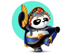 Hey Panda~ by lishun on Dribbble Logo Character, Character Design, Elephant Illustration, Illustration Art, Cool Panda, Chinese Opera, Chinese Patterns, Mascot Design, Image Fun