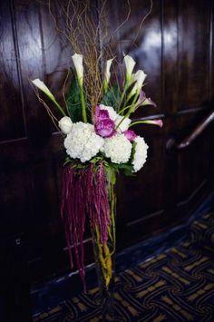 dramatic calla lily, hydrangea, curly willow, garden rose arrangement