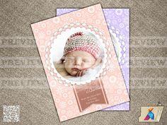 Ornament Vignette - Baby Girl Custom Photo Birth Announcement, Baby Shower, Birthday Invite - Printable File (096)