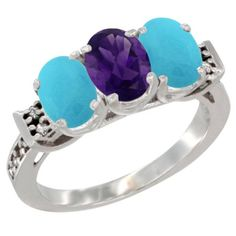 10K White Gold Natural Amethyst and Turquoise Sides Ring 3-Stone Oval 7x5 mm Diamond Accent, sizes 5 - 10 * New and awesome product awaits you, Read it now  : Jewelry Ring Bands