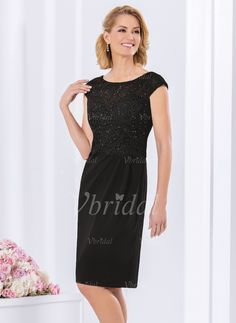 61c7a0099a4d Sheath/Column Scoop Neck Knee-Length Beading Charmeuse Lace Zipper Up Cap  Straps Sleeveless No Black Spring Summer Fall Mother of the Bride Dress