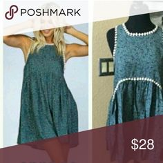 Beautiful Teal Baby Doll Dress Beautiful Teal Baby Doll Dress  Too big only tried on nwot Dresses Midi