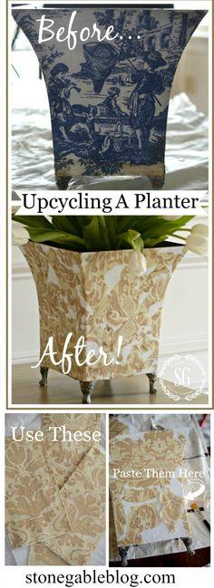 UPCYCLING A PLANTER- an easy budget friendly way to decorate-stonegableblog.com