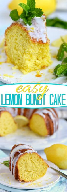 Looking for an easy lemon dessert recipe that is going to WOW your friends and family? This Easy Lemon Bundt Cake is the answer! A breeze to make and loaded with bright lemon flavor, this easy cake recipe is also figure-friendly which makes it perfect for Easy Lemon Bundt Cake Recipe, Lemon Dessert Recipes, Köstliche Desserts, Lemon Recipes, Easy Cake Recipes, Baking Recipes, Delicious Desserts, Yummy Food, Cream Cheeses