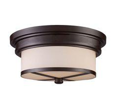 Elk Lighting 15025/2 2-Lt Flush Mount in OiLED Bronze in Ceiling Lights, Flush Mounts: ProgressiveLighting.com
