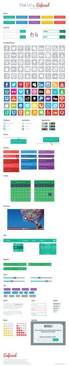 Free Flat UI Kit by Enfuzed. #Freebie #Flat #UI