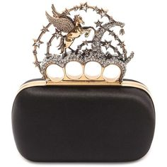 Alexander McQueen Flying Unicorn Knuckle Box Clutch ($2,760) ❤ liked on Polyvore featuring bags, handbags, clutches, knuckle clutches, knuckle handbag, hard clutch, brass knuckle clutches and alexander mcqueen