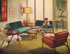 Viko Furniture 1963  -  I remember our living room being orange & turquoise…