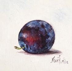 Blue Plum Sale Still Life Original Oil Painting by Nina R.Aide | Etsy