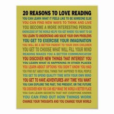 20 Reasons to Love Reading Books Poster 20 Reasons to Love Reading poster for book lovers, teachers, classroom, or library. poster Colorful legible fonts and retro color scheme. 11x14 size or larger recommended for best readability. Librarian Print Customizable Template gift. Love Reading #Promotion #KidsReadMore