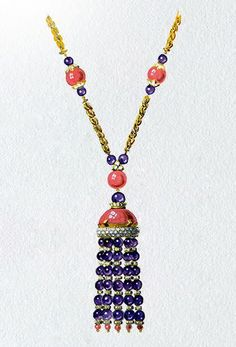 Drawing of a yellow gold, amethysts, diamonds and coral sautoir, circa 1970, Van Cleef & Arpels' Archives