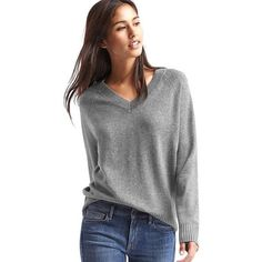 Gap Women Wool Cashmere Blend V Neck Sweater ($60) ❤ liked on Polyvore featuring tops, sweaters, heather grey, regular, long sleeve v neck top, long sleeve tops, gap sweaters, gap tops and wool v-neck sweater