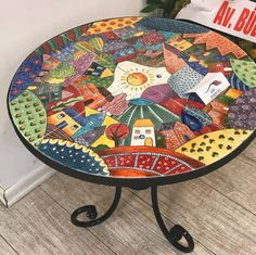 """Mosaic Art Diverse City Series piece by ringmosaics on EtsyHouse mosaics on stairs create streets!""""Around the Town"""" - as I call it - mosaic - Salvabrani Mosaic Furniture, Funky Painted Furniture, Paint Furniture, Furniture Makeover, Tile Art, Mosaic Art, Mosaic Glass, Glass Art, Painted Stools"""