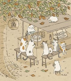 ideas for funny cute illustration kitty Illustration Mignonne, Cute Cat Illustration, Cat Illustrations, I Love Cats, Crazy Cats, Cute Cats, Funny Cats, Art Mignon, Japanese Cat