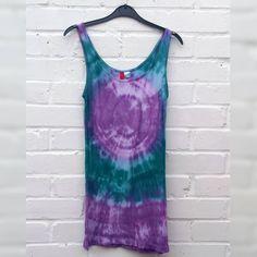 Tie Dye Tank Top Vest ALL SIZES Hippie Festival Boho Teal & Purple by AbiDashery on Etsy Festival Trends, Green Colors, Colours, Hippie Festival, Teal, Purple, White Tank, Boho Fashion, Tie Dye