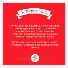 Did you know Rooibos could be used for skin rashes, itching and stomach cramps? Natural remedies in our Evening #teatip