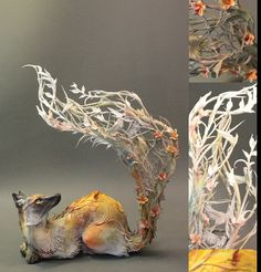 The fox dreams of birds original handmade OOAK by creaturesfromel