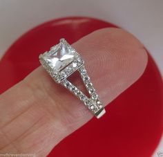 Real Solid 14K Gold..1.89 ct Princess Brilliant cut Engagement ring double shank