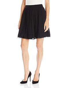 Just Cavalli Women's Chiffon Pleated Solid Skirt, Black, 44 *** Read more details by clicking on the image. #WomensSkirts