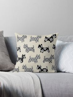 A lovely design available on a  tote bag or a throw pillow featuring a patterned black and white Westie design against a beige background. A great gift for any West Highland Terrier lovers. The colors of the design are black, white and beige. / Natalie Kinnear Photography / Fine Art Photographic Artist Print and Canvas Wall Art for Home Decor and Interior Design  / www.nataliekinnearphotography.co.uk / www.facebook.com/natkphoto • Also buy this artwork on home decor.