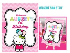 Hello Kitty Birthday Welcome Sign Hello Kitty by graphicsmarket, $10.00