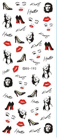 DS192 diyネイルデザイン水転送爪アートステッカーセクシーなキス赤い唇女性ネイルラップステッカー透かし爪デカール
