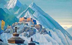 Nicholas Roerich - Tibet, Himalayas, Tempera on Canvas, 74 x Feng Shui, Shangri La, Renoir, Mantra, Nicholas Roerich, Mountains Of Madness, Russian Painting, Russian Art, New York
