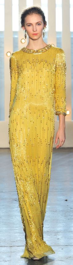 Jenny Packham ~ Fall Long Sleeve Sequinned Gown, Yellow+Gold, 2014 - formal wear for older women
