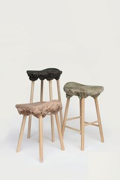 The Well Proven Stool, foaming wood by Marjan van Aubel & James Shaw. 2013.