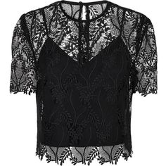 Diane von Furstenberg Lace Crop Top ($375) ❤ liked on Polyvore featuring tops, lace top, lace crop tops, lacy tops, long-sleeve crop tops and sleeve top