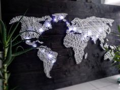 Black & White, 150 x 100 cm Me On A Map, String Art, Maps, House Ideas, Black And White, World, Handmade, Crafts, Hand Made
