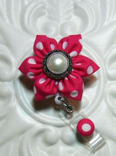 Retractable Badge Holder ID Badge Reel Flower Pink And White. $8.50, via Etsy.